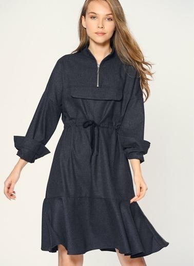 Loves You Önü Fermuar Detaylı Flanel Elbise Antrasit